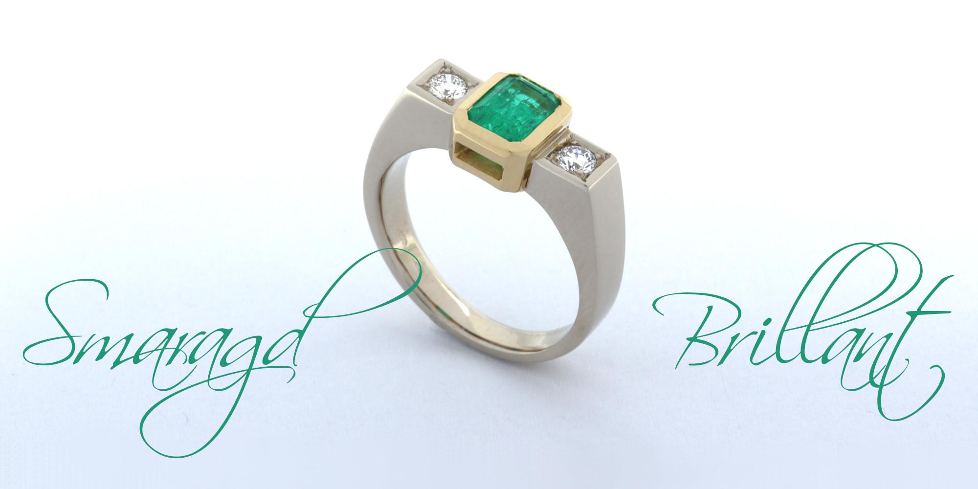 Smaragd Brillant Ring classic Goldschmiede Mace
