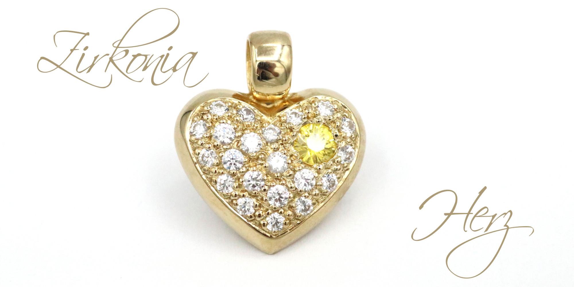 Zirkonia Herz gelb Goldschmiede Mace