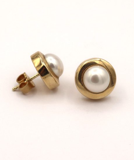 Klassische Perlenstecker Perle Gold Ohrstecker Goldschmiede Mace id184