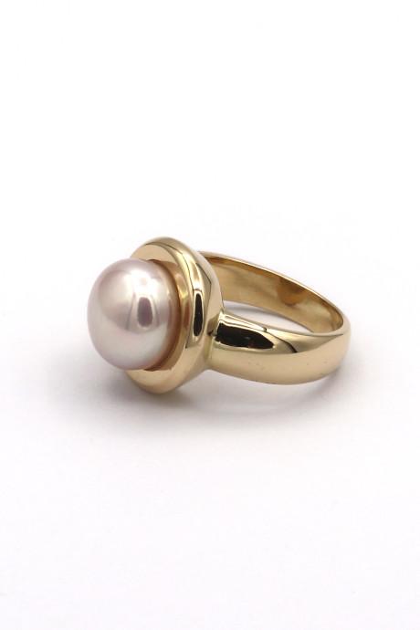 id627 Klassischer Ring Suesswasser Perle Goldschmiede Mace Hauptansicht