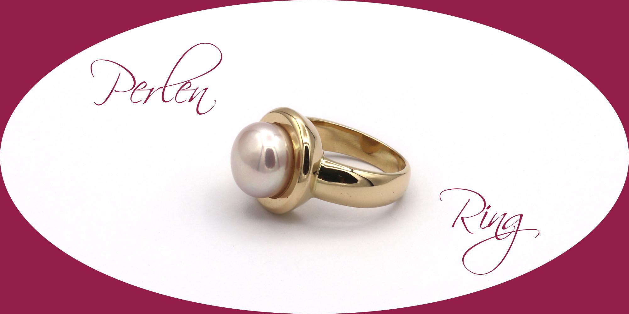 id627 Ring Süßwasserperle Gold Goldschmiede Mace