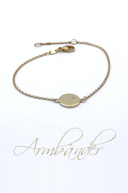 id613 Gold Plaettchen Armband Rund Brillant beschriftet Goldschmiede Mace