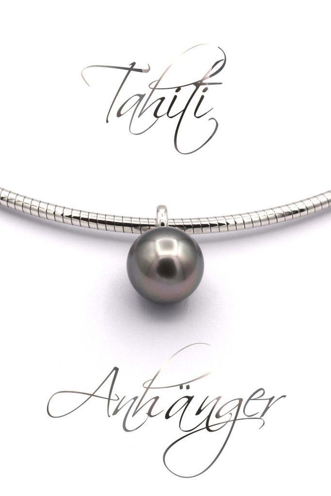 id628 Tahiti Zucht Perle Anhaenger Silber Omega Tonda Goldschmiede Mace beschriftet