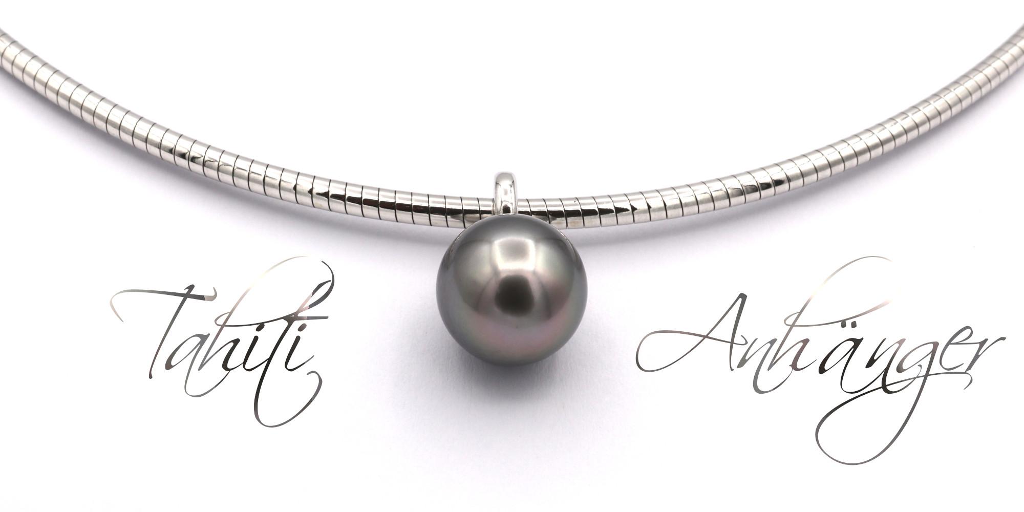 id628 Tahiti Zucht Perle Anhaenger Silber Omega Tonda Goldschmiede Mace Breitformat beschriftet